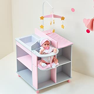 Olivia's Little World - Polka Dots Princess Baby Doll Changing Station, Baby Care Activity Center, Role Play Nursery Cente...