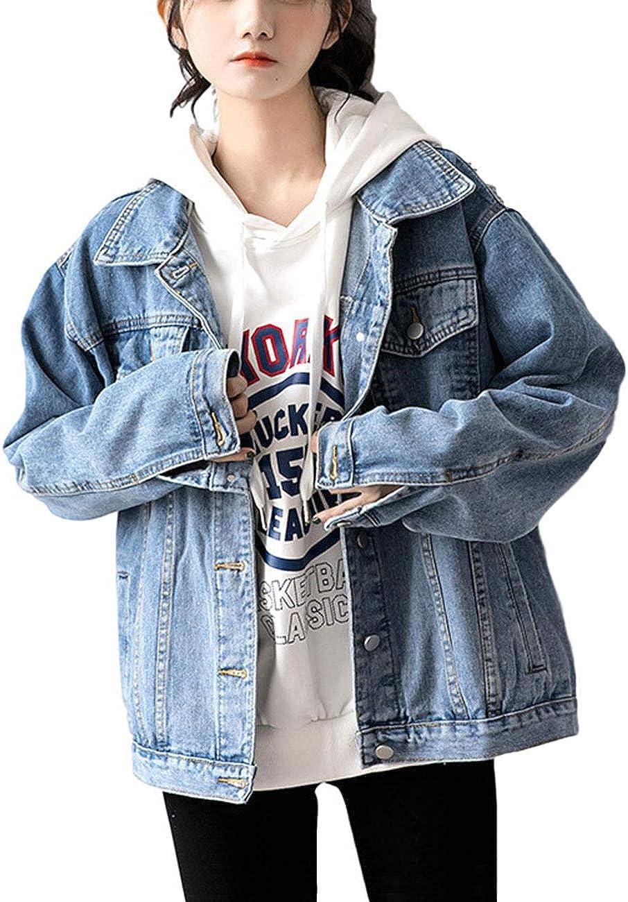 ZLSLZ Womens Loose Boyfriend Oversized Denim Jean Jacket Coat Plus Size Blue