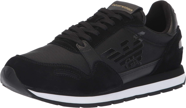 Emporio Armani Men's Lace Up Logo Fashion Sneaker Black, 6M Regular UK (7M US)