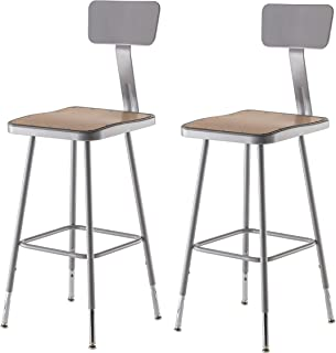 National Public Seating 6324HB-CN Steel Stool with Square Hardboard Seat Adjustable and Backrest, 25