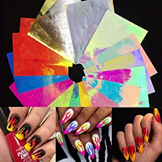 Nail Holographic Stickers for Women 16 PCS Self-adhesive Nail Art Decals Halloween Fire Flame Nail Foil Design Decoration Accessories DIY Nail applique for Women Girls Beauty