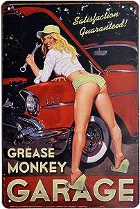 PEI's Grease Monkey Garage, Sexy Girl Retro Vintage Tin Metal Sign Wall Decor for Home Garage Bar Man Cave, 8x12/20x30cm