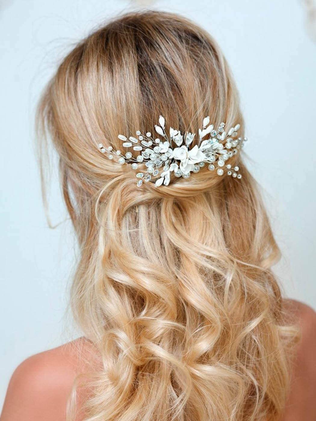 Zoestar Peineta para el pelo de novia con diseño de flores y cristales para novia