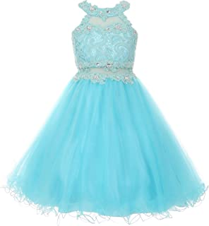 Halter Rhinestones Lace Illusion Flower Girl Dress