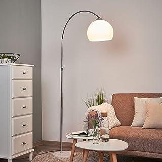 Lindby Lampadaire 'Sveri' (Moderne) en Blanc e. a. pour Salon & Salle à manger (1 lampe,à E27) | Lampadaire arqué, lampada...