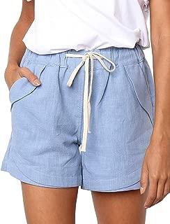 CILKOO Women's Drawstring Elastic Waist Casual Comfy Cotton Linen Beach Shorts(S-XXL) - - Medium