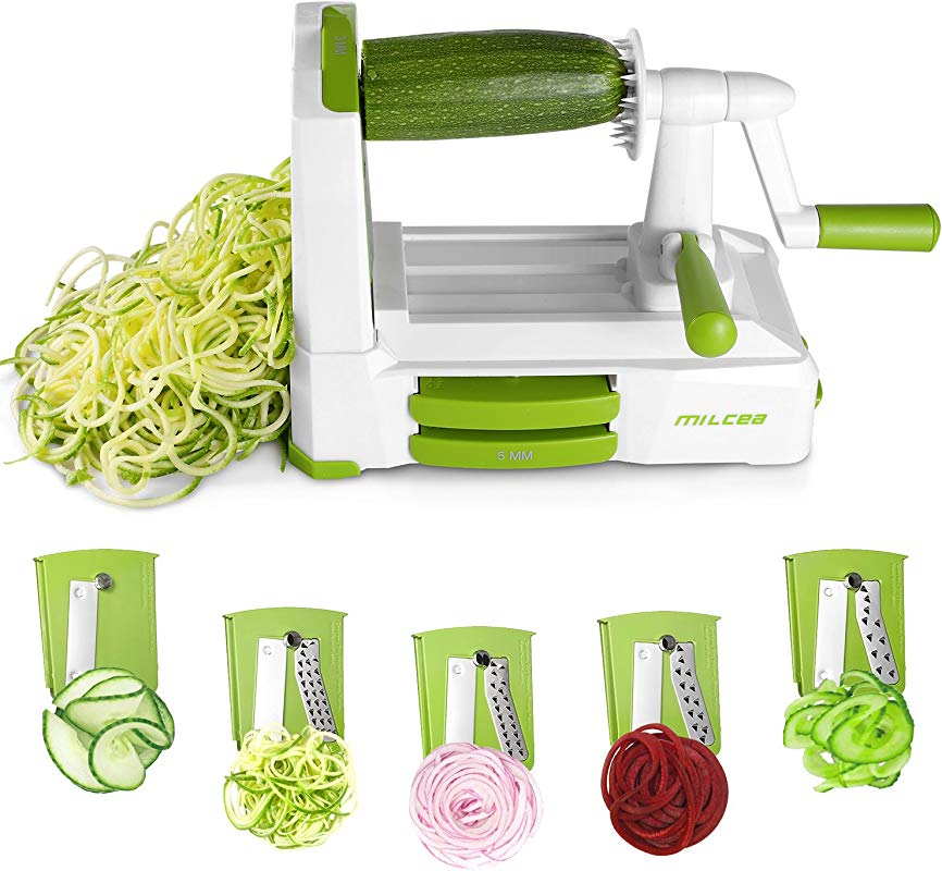 Spiralizer Vegetable Slicer 5 Blades Zoodle Maker With Strong Hold Suction Veggie Spiralizers Zucchini Spiral Noodle Spaghetti Maker For Low Carb Gluten Free Meals