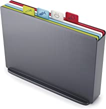 Joseph Joseph Index Plastic Cutting Board Set with Storage Case Color-Coded Dishwasher-Safe Non-Slip, Large, Graphite