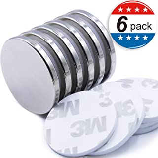 """Super Strong Neodymium Disc Magnets with Double-Sided Adhesive, Powerful Permanent Rare Earth Magnets. Fridge, DIY, Building, Scientific, Craft, and Office Magnets, 1.26""""D x 1/8""""H - Pack of 6"""
