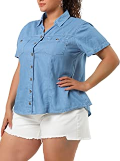 Agnes Orinda Plus Size Jeans Shirts for Women Short Sleeve Chest Pocket Button Down Denim Shirt
