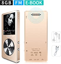 MYMAHDI 8GB Portable MP3 Player(Expandable Up to 128GB), Music Player/One-Key Voice Recorder/FM Radio 70 Hours Playback with External Speaker HD Headphone, Gold