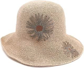 Happy-L Hat, 100% Women Handmade Raffia Straw Sun Hat Crochet Flower Vacation Beach Hat Bucket Wide-Brimmed Hat,Leisure Fashion Cap. (Color : Pink, Size : 56-58CM)