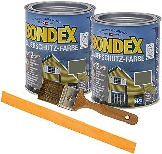 Bondex Dauerschutzfarbe deckend 2 x 0,75l Wetterschutzfarbe Holzschutzfarbe Holzfarbe bis zu 12 Jahre wetterbeständig für Holz und Zink Außen inkl. Pinsel und Rührstab norge grün