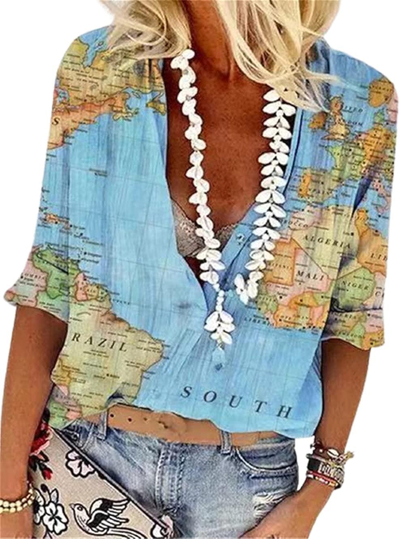 HOLATOK Women's World Map Geometric Pattern Lapel Casual Long Sleeve Button Down Shirt Summer Loose Top Blouse