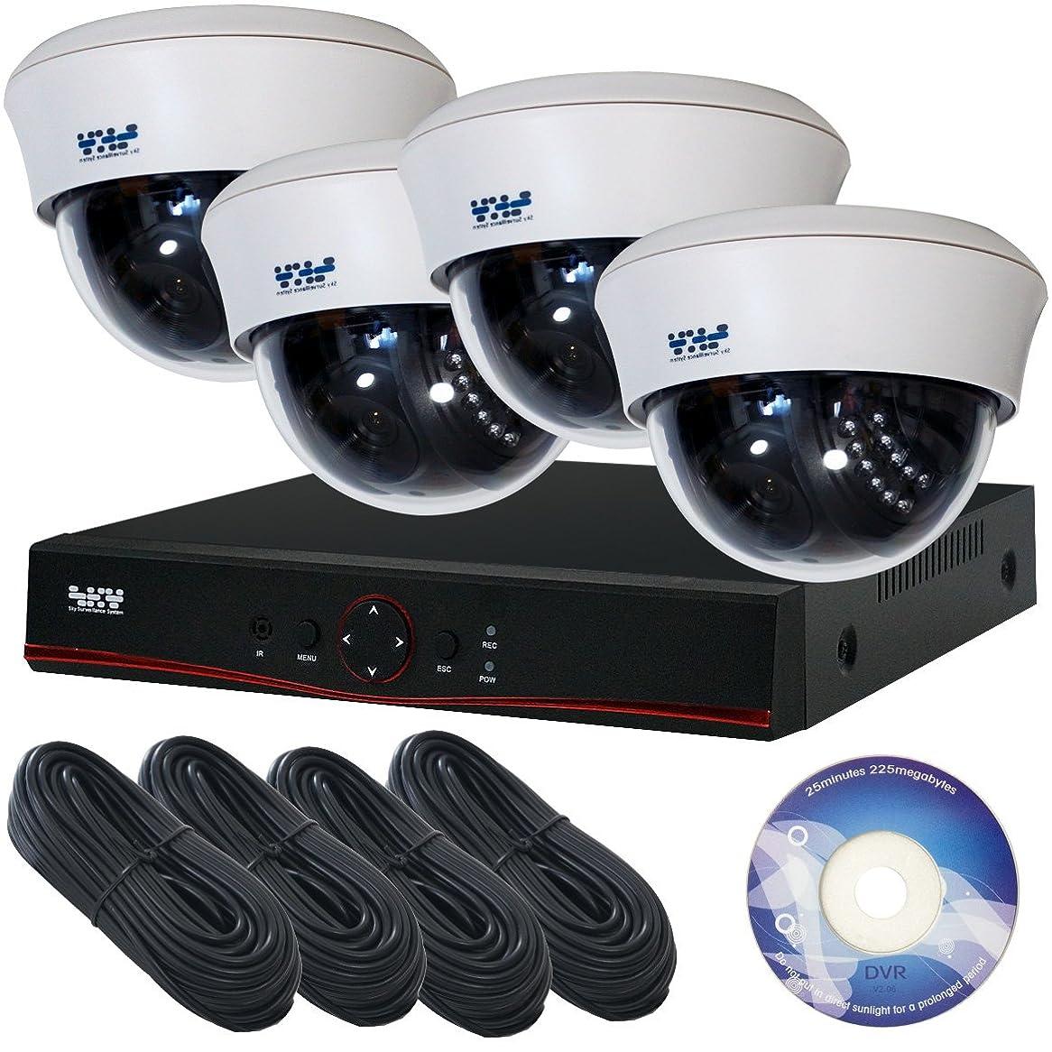 生き残りペチュランス症状SKY Electronics 屋内用ドーム型防犯カメラ 4台 録画機 1台 セット 200万画素
