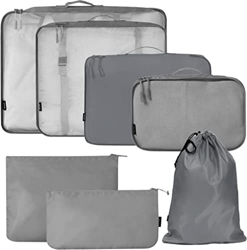 BAGAIL 7-Pcs Lightweight Luggage Packing Organizers Packing Cubes for Travel Accessories (Grey7)