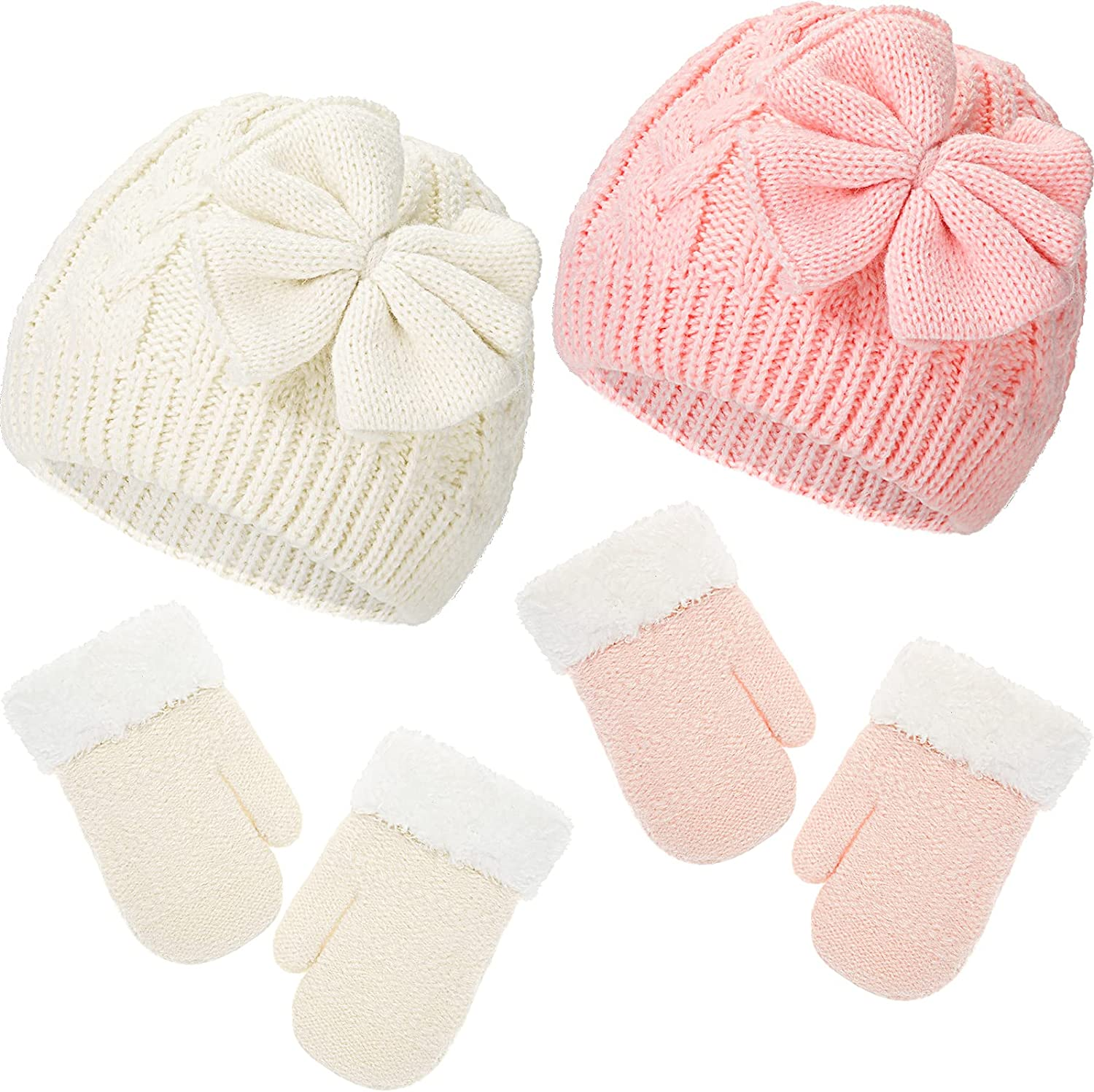2 Sets Winter Warm Knitted Baby Hat Bow Knitted Infant Hat Fabric Lined Infant Toddler and Winter Baby Gloves Warm Infant Gloves for Baby Inflat