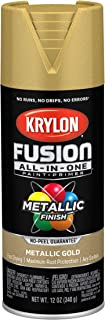 Krylon K02770007 Fusion All-in-One Spray Paint, 12 Ounce (Pack of 1), Gold