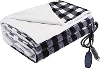 Home Car Use,39x23 Camping 4 Temp Levels Timing Blanket for Cold Weather Office 12V Car Electric Heated Blanket