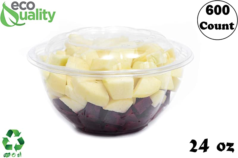 24oz Clear Disposable Salad Bowls With Lids 600 Pack Clear Plastic Disposable Salad Containers For Lunch To Go Salads Fruits Airtight Leak Proof Fresh Meal Prep Rose Bowl Container 24oz