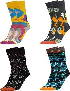 Wodasi, Estampados Hombres Ocasionales Calcetines, 4 Pares de Calcetines Estampados Colores Hombres Mujeres Termicos Invierno Divertidos Calcetín de Algodón Unisex, 37-43