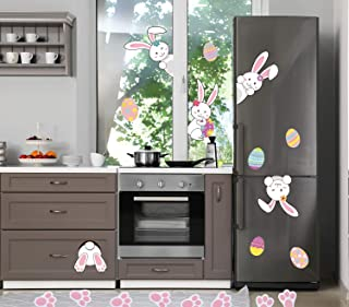 Easter Window Stickers 35 PCS Easter Window Decorations, Bunny Footprints Easter Window Clings, Spring Decorations for Win...