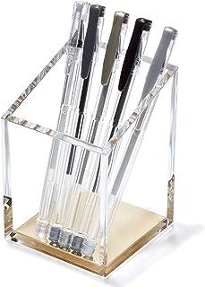 Acrylic Pencil & Pen Holder - Gold Desk Organizer or Makeup Brush Holder for Vanity - Sleek Modern Design for Office or Home