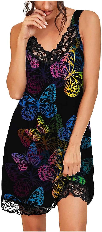 FUNEY Women's Slip Lingerie Sexy Chemise Nightgown Babydoll Soft Sleepwear Leopard Print Lace Trim Jersey Lingerie