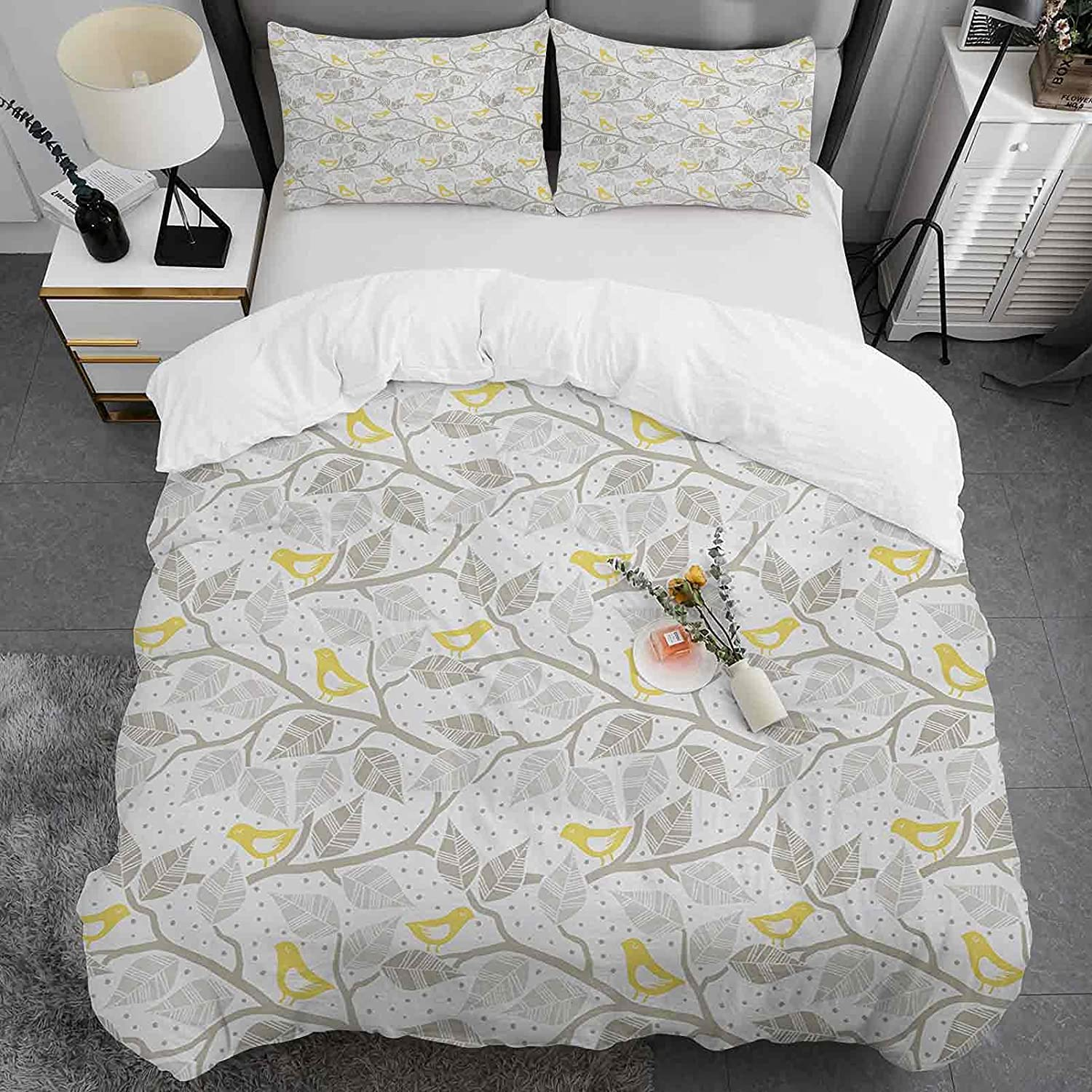 New popularity Grey and Yellow Cotton Duvet Cover King Bran Max 72% OFF Abstract Size Tree