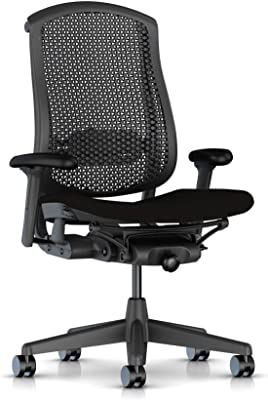 Herman Miller Celle Task Chair: Graphite Cellular Back with Black Upholstered Seat Cushion, Cellular Suspension Synthetic Fiber