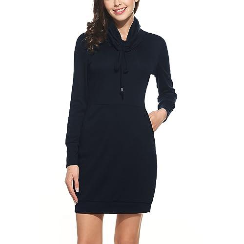 Zeagoo Damen Casual Kleid Etuikleid Langarm Kleid Kurz Strickkleid  Rollkragen Pullover Hoodie f146fd8d10