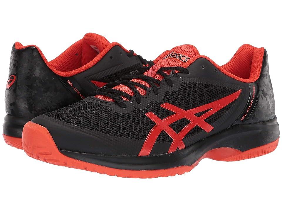 ASICS Gel-Court Speed (Black/Cherry Tomato) Men's Cross Training Shoes, Gray