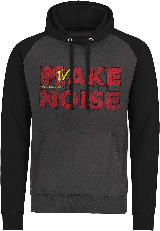 MTV Officially Licensed Make Noise Baseball Hoodie (Dark Grey - Black), M