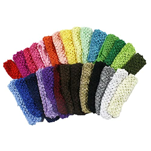 20 pcs Girls Crochet Headband With 1.5 inch Acrylic the color Pick up.