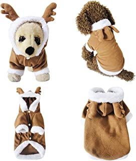 Mogoko Dog Cat Christmas Reindeer Costumes, Funny Pet Festival Cosplay Dress, Puppy Fleece Hoodie Coat Clothes, Animal Autumn Winter Warm Jumpsuit Outfit Apparel