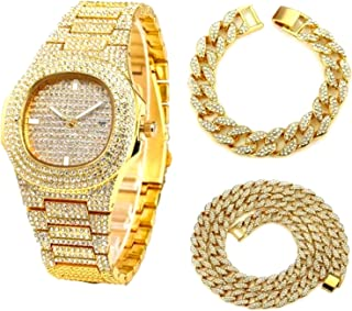 WSCDEH Necklace +Watch+Bracelet Hip Miami Curb Cuban Chain Gold Silver Iced Out Paved Rhinestones Cz Bling Rapper For Men ...
