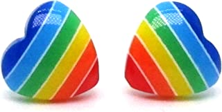 SAE99 Rainbow Heart Collection Plastic Posts Stud Earrings for Metal Sensitive Ears (Hypoallergenic)