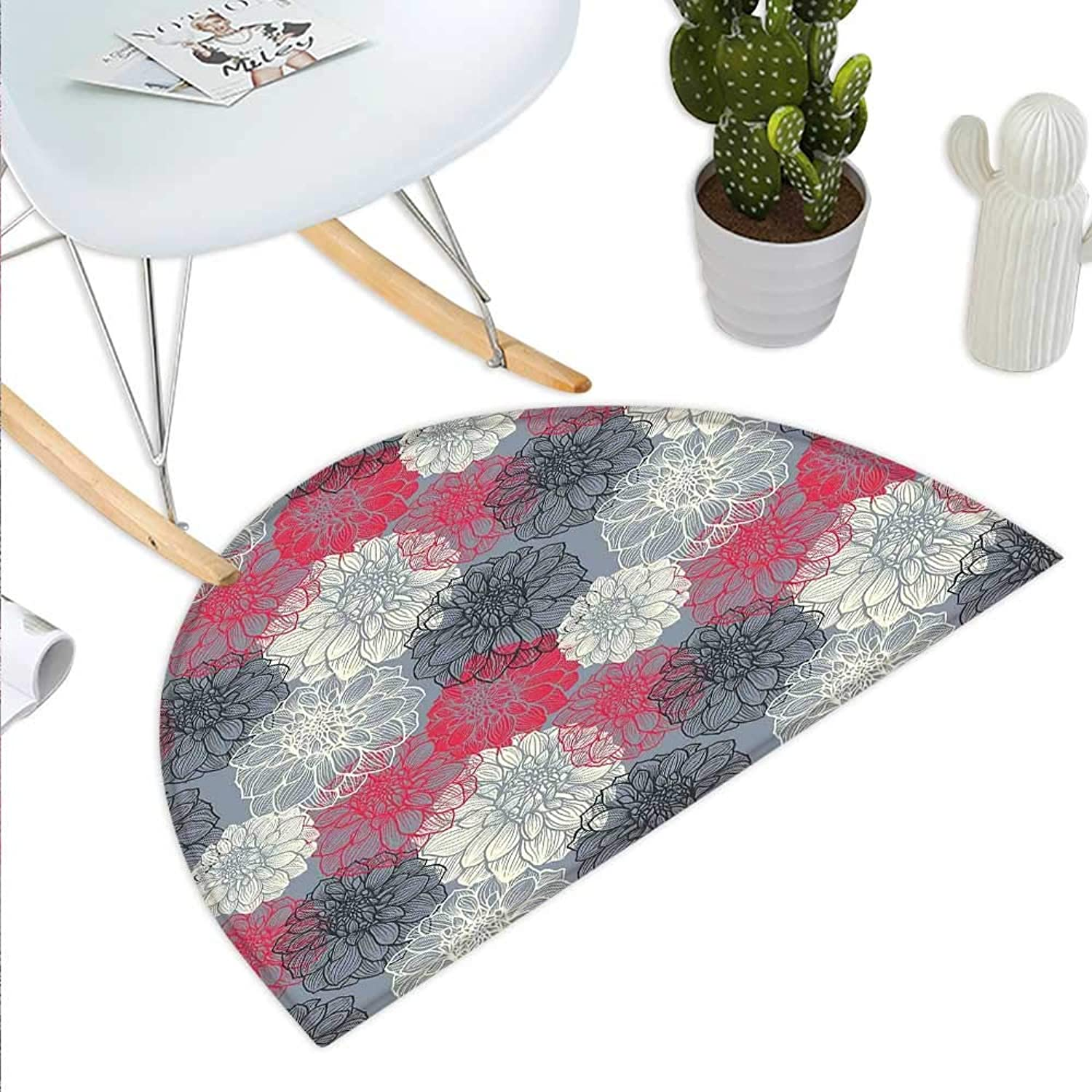 Dahlia Flower Semicircle Doormat Hand Drawn Repeating Big and Small Flowers Motif with color Element Effects Halfmoon doormats H 43.3  xD 64.9  Multicolor