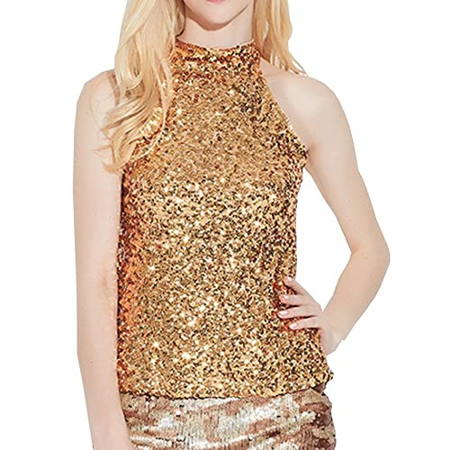 ddbd6327b15571 swrose Women s Shimmer Flashy All Sequins Embellished Sparkle Vest Tank Tops