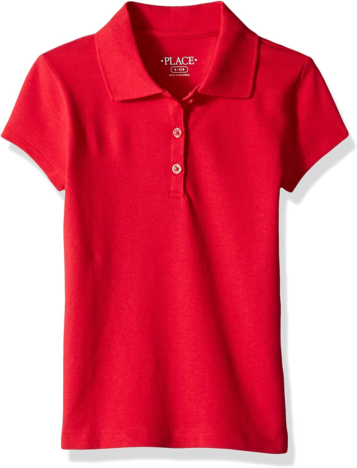 The Childrens Place Girls Uniform Long Sleeve Ruffle Pique Polo