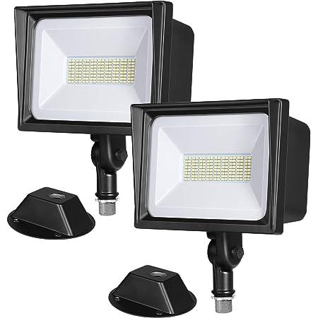 DEWENWILS 2-Pack 65W LED Flood Light Outdoor, IP65 Waterproof 6670 Lumen Super Bright(500W Halogen Equiv)Adjustable Knuckle Mount LED Security Light, 5000K Daylight for Yard, Garage, Garden, UL Listed