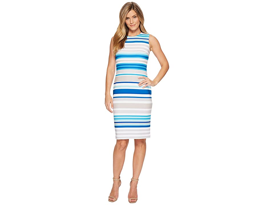 Calvin Klein Striped Sheath Dress CD8MBV6N (Khaki Multi) Women