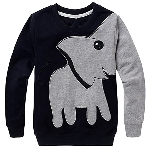 LitBud Toddler Boys Elephant Sweatshirt Casual Spring Pullover Jumpers T Shirt Tops For Kids 2 3