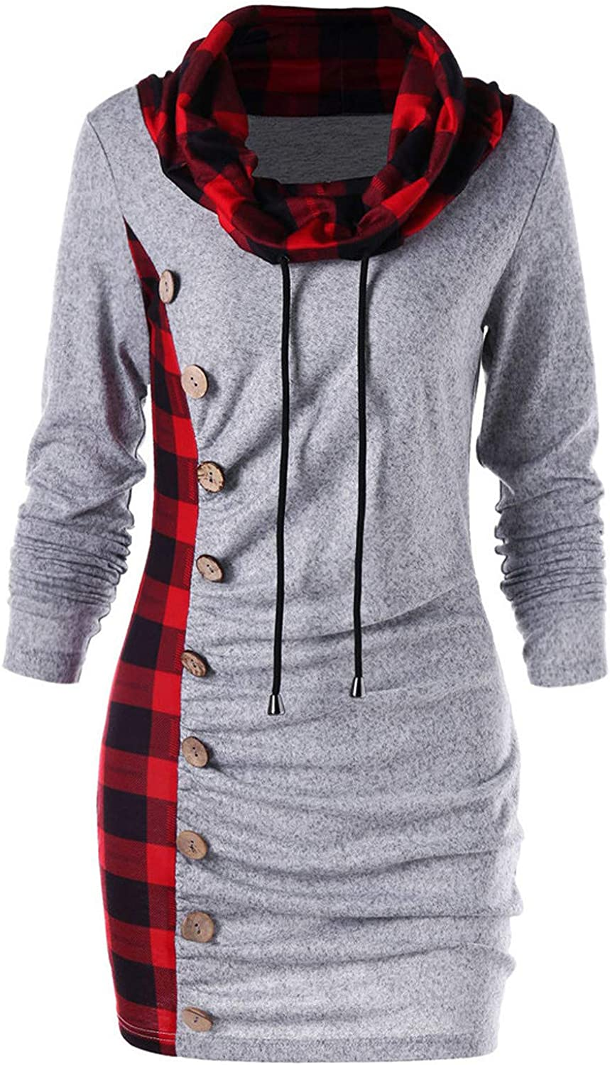 Womens Fashion Casual Funnel Neck Check Contrast Lapel Open Front Plaid Vest Cardigan Coat with