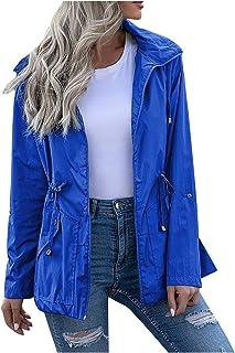 Women's Coat Waterproof Zippered Windbreaker Quick Dry Jacket Breathable Lightweight Hooded Rain Jacket Coats Active Outdo...