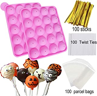 HomyPlaza 2 pack 20-Cavity Slicone ice cream mold with 100 sticks homemake cake pop maker