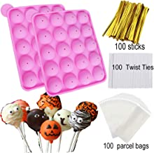 HomyPlaza 2 pack 20-Cavity Slicone ice cream mold with 100 sticks homemake cake pop maker