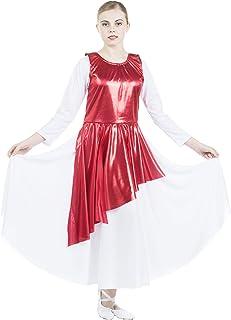 Danzcue Asymmetrical Metallic Praise Dance Tunic Scarlet S-M-Child