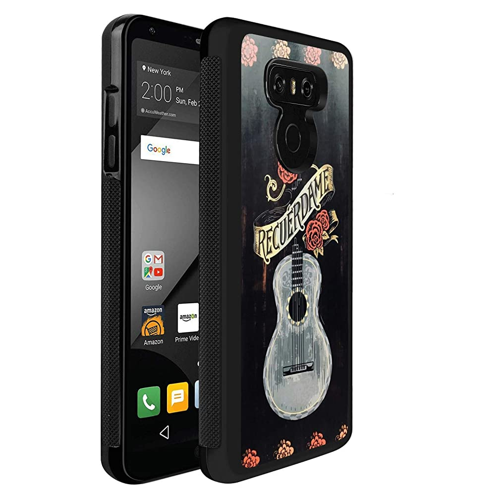 Customized TPU Soft Shockproof Rubber Bumper Protective Black Anti-Skid Tread Skull Guitar Flower Case for LG G6