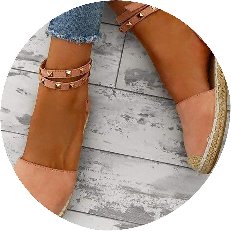 Women's Summer shoes Woman Fashionable Rivet Sandals Flock Flat shoes Heel Canvas Sandal